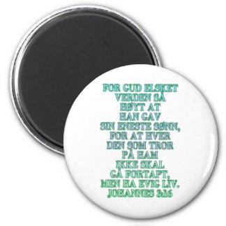 John 3:16 Norwegian 2 Inch Round Magnet