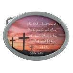 John 3:16 oval belt buckles