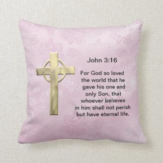 John 3:16 (pink) throw pillows
