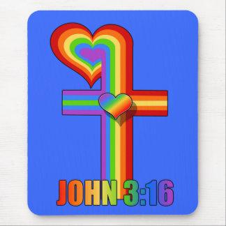 John 3:16 ~ Rainbow cross Mouse Pad
