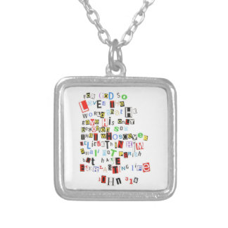 John 3:16 Ransom Note Silver Plated Necklace