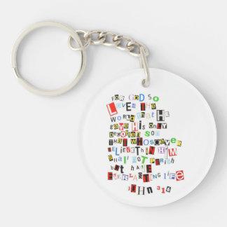 John 3:16 Ransom Note Single-Sided Round Acrylic Keychain