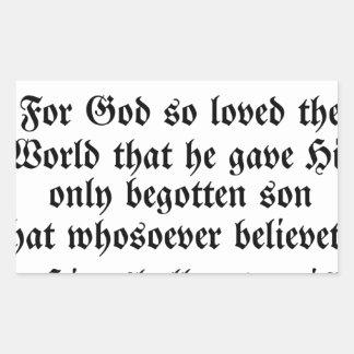 John 3:16 rectangular sticker