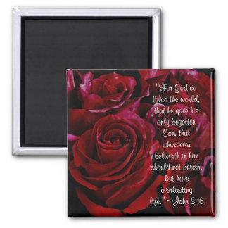 John 3:16 red roses magnet