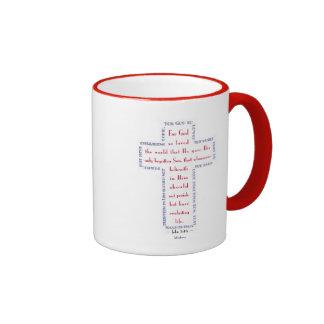John 3:16 Red, White and Blue Cross Ringer Mug