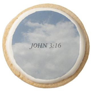 John 3:16 round shortbread cookie