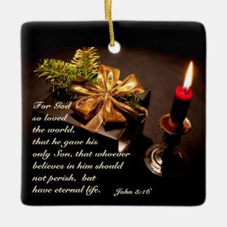 John 3:16 Scripture God so Loved the World Ceramic Ornament
