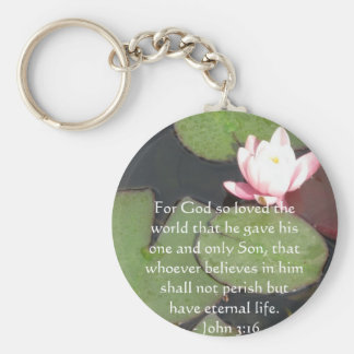 John 3:16 Scripture inspirational quote Basic Round Button Keychain