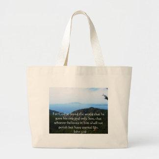 John 3:16 Scripture inspirational quote Large Tote Bag