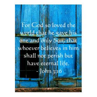 John 3:16 Scripture inspirational quote Postcard