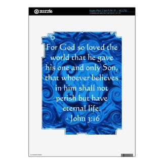 John 3:16 Scripture inspirational quote Decals For iPad 3