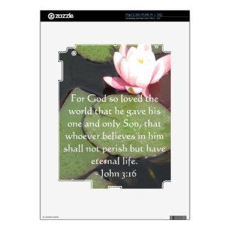 John 3:16 Scripture inspirational quote Skins For iPad 2