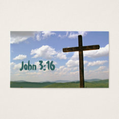 John 3:16 Scripture Memory Card, Cross Business Card at Zazzle