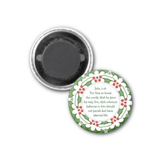 John 3:16 Scripture with Christmas Holly Magnet
