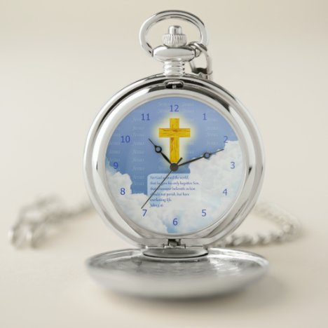 John 3:16 Scripture with Golden Cross of Jesus BG Pocket Watch