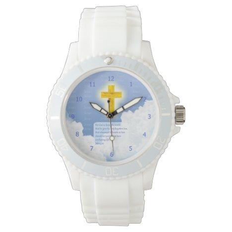 John 3:16 Scripture with Golden Cross of Jesus BG Watch