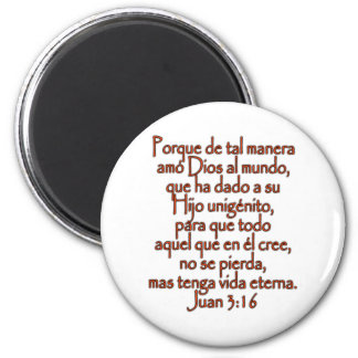 John 3:16 Spanish 2 Inch Round Magnet