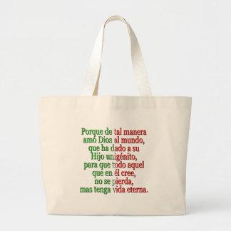 John 3:16 Spanish Large Tote Bag