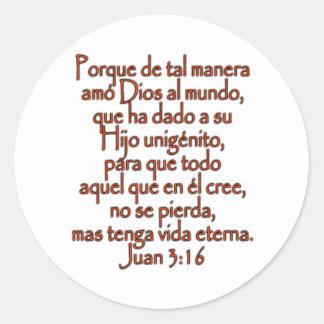 John 3 16 Spanish Stickers