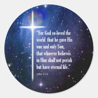 John 3:16 round sticker
