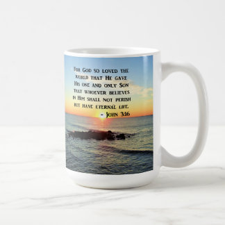 JOHN 3:16 SUNRISE ON THE OCEAN PHOTO COFFEE MUG