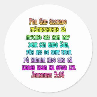 John 3:16 Swedish Classic Round Sticker
