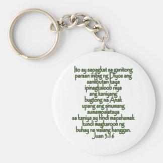John 3:16 Tagalog Basic Round Button Keychain