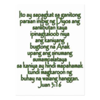 John 3:16 Tagalog Post Card