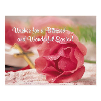 John 3:16 Version - Gold Cross & Pink Rose Design Postcard