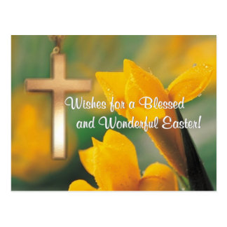 John 3:16 Version - Gold Cross & Yellow-Gold Lily Postcard