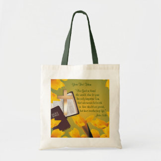 John 3:16 Version - Gold Cross & Yellow-Gold Lily Tote Bag