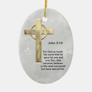 John 3:16 (white) Double-Sided oval ceramic christmas ornament
