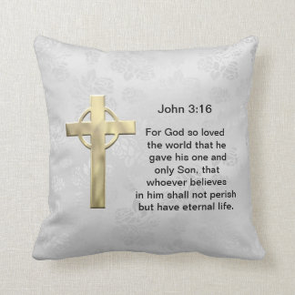 John 3:16 (white) throw pillow