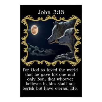 John 3:16 Wolves looking into the full moon. Poster