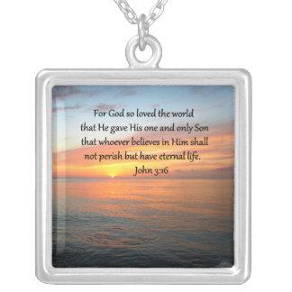 JOHN 3:36 SUNRISE OVER THE OCEAN PHOTO SQUARE PENDANT NECKLACE