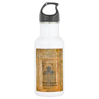 John 4:19 BIBLE VERSE Renaissance Cross Water Bottle