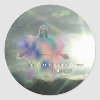 John 6:20 Do not be afraid. Jesus Walking on Water Classic Round Sticker