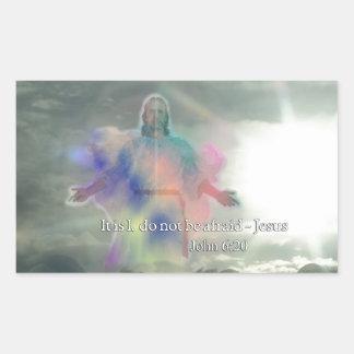 John 6:20 Do not be afraid. Jesus Walking on Water Rectangular Sticker