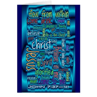 John 7:37-41 Blue Water Greeting Cards