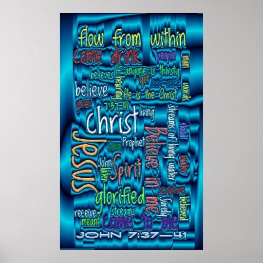 John 7:37-41 Blue Water Poster