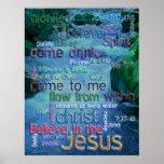 John 7:37-41 Rushing Stream Poster