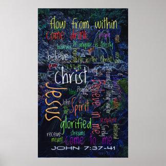 John 7:37-41 Waterfall Posters