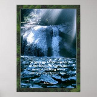 John 7 38 Living Water scripture Poster Print