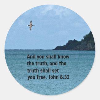 John 8:32 round sticker