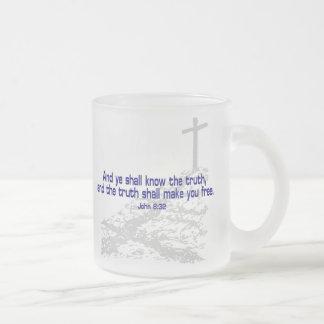 John_8_32a, John_8_32a Frosted Glass Coffee Mug