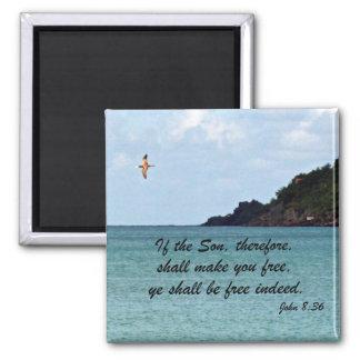 John 8:36 2 inch square magnet