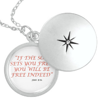 John 8 36 Bible verse scripture of faith 1029.02 Round Locket Necklace