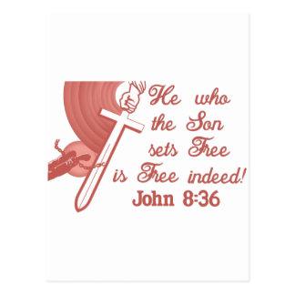John 8:36 postcard