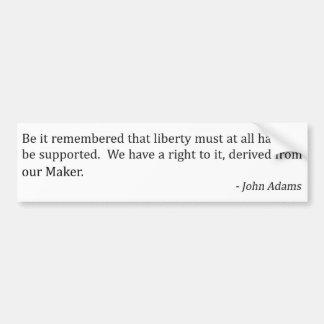 John Adams and Liberty Bumper Stickers