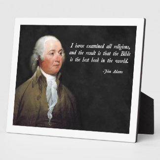 John Adams Bible Plaque